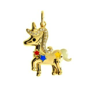 Liontin Berlian dan Emas 75% Star Unicorn