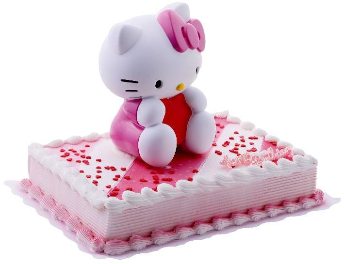 Hello Kitty Spardose-CK-346 Tortendekoration Hello Kitty Spardose Zur Dekoration gehören: 1 hochwertige Hello Kitty Spardose ca. 16 cm groß 1 Happy Birthday Schriftzug  essbare Zuckerstreusel Herzen
