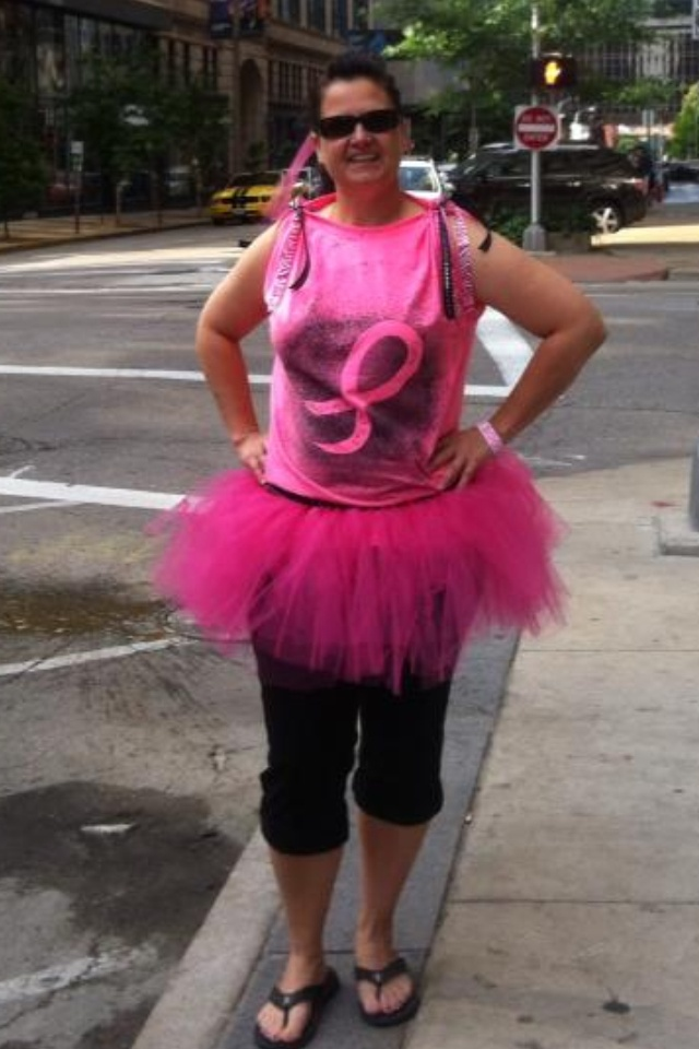 Tutu & shirt i made for me for the Race for the Cure 5K run in St. Louis MO 2013.