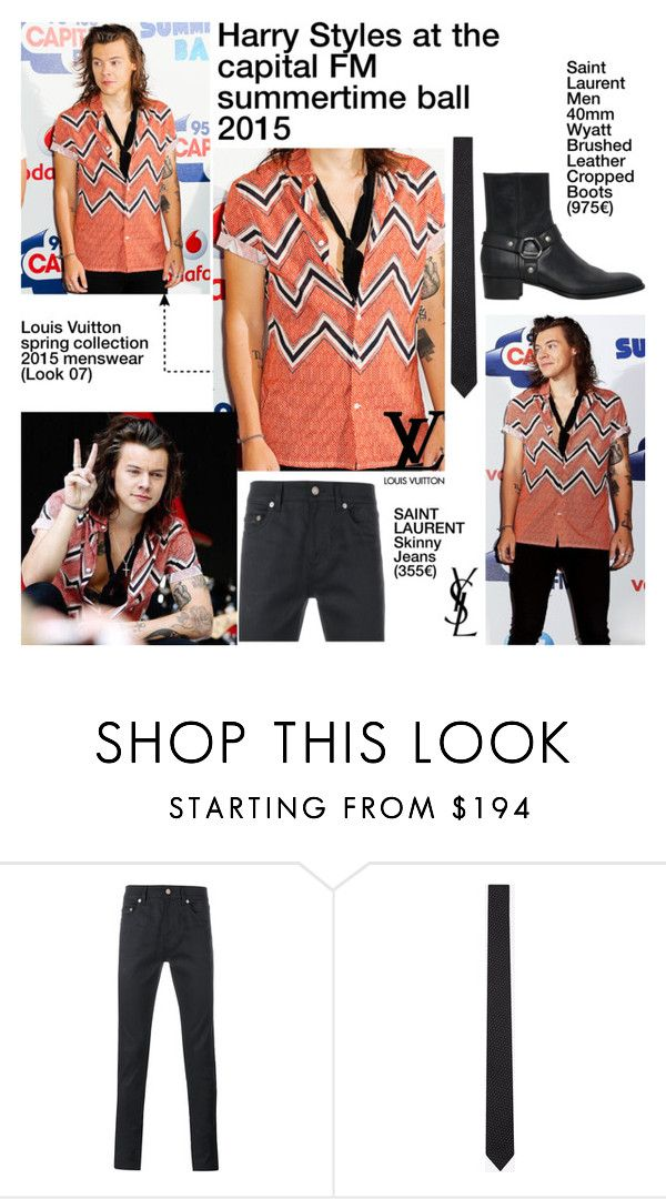 """""""Harry Styles at the capital FM summertime ball 2015"""" by cassy-style ❤ liked on Polyvore featuring Yves Saint Laurent, Louis Vuitton, men's fashion and menswear"""