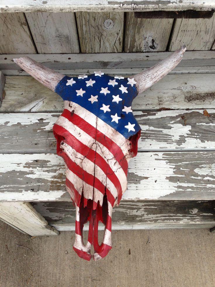 My American Flag Cow Skull