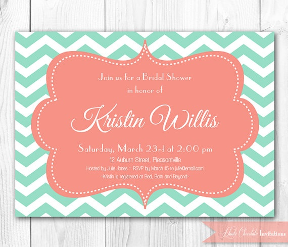 Bridal Shower Invitation - Modern Chevron in Mint & Coral Shower Invitation. DIY Printable Bridal Shower Invite or Baby Shower Invite.