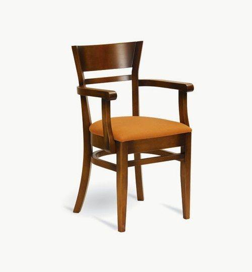 Karmstol med stoppad sits, många tyger samt träbets att välja på. Ingår i en serie med vanlig stol och barstol. Vikt 7,6 kg. Säljs i 2pack (2st). Pris anges (1st). Levereras monterad.  Tyg Lido, 100 % polyester, brandklassad. Tyg Luxury, 100 % polyester, brandklassad. Konstläder Pisa, brandklassad, 88,5% PVC, 11,5% polyester.