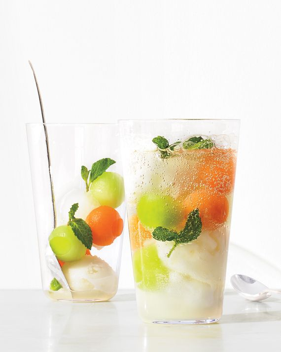 Put a healthy dairy-free twist on an ice cream float by combining frozen melon balls, lemon or coconut sorbet, and fresh mint, then topping with seltzer or club soda.