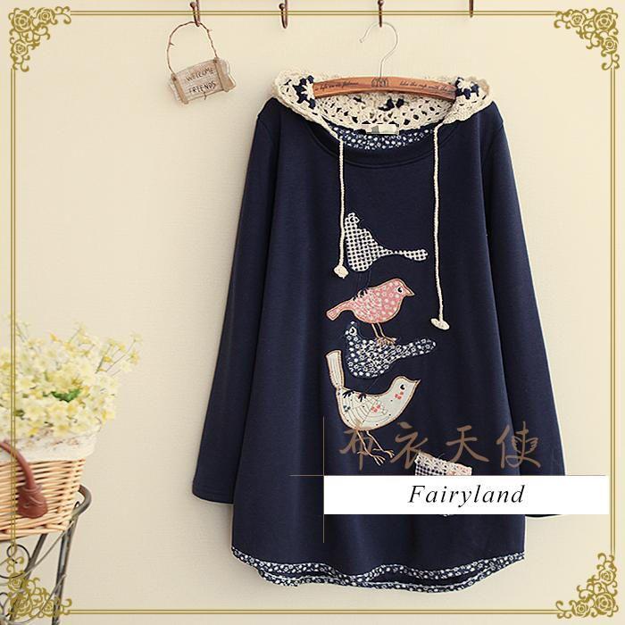 Bird Appliqué Crochet Hooded Pullover - Fairyland | YESSTYLE