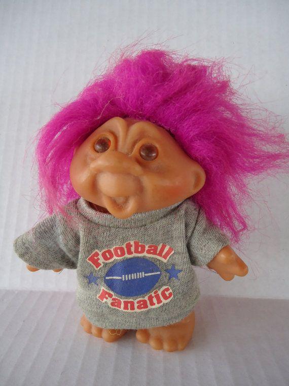 Vintage DAM Troll Football Fanatic Doll Pink by Sarasvintageattic