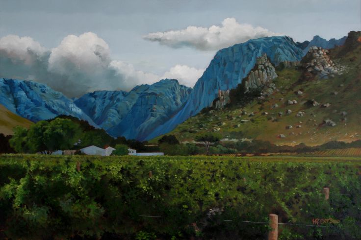 Wine farm near the town of Worcester in the Western Cape Province. Mountains turn blue depending on the time of day and season. Produced in oils.