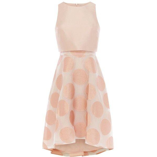 Coast Pernilla Spot Dress (96 CHF) via Polyvore featuring dresses, clearance, rose, polka dot dress, polka dot a line dress, pink a line dress, pink polka dot dress et rose pink dress