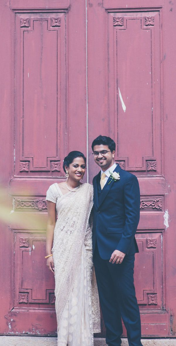 The happy couple moments after getting married in St Mark's Cathedral, Bangalore