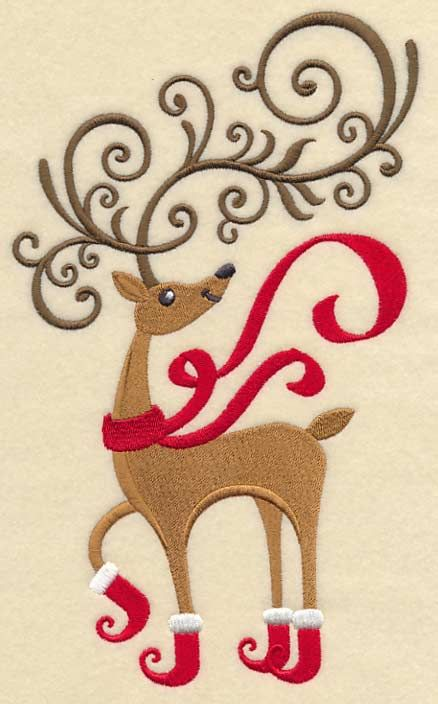 """Frolicking Fancy Reindeer Product ID: L6075 Size: 5.79""""(w) x 9.41""""(h) (147.1 x 239 mm) Color Changes: 6 Stitches: 30229 Colors Used: 5 4 SIZES"""