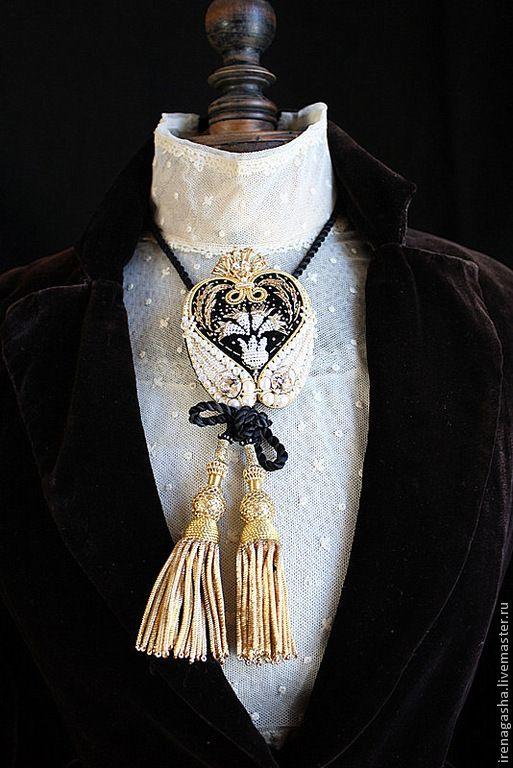 Купить Брошь - подвеска В15006 - черно-белый, золотой, брошь, кулон, подвеска, индия