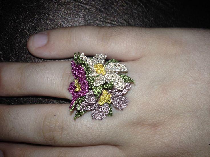 Handmade pink cream needle lace ring / iğne oyası yüzük by HulyasLetsWear on Etsy https://www.etsy.com/listing/452989002/handmade-pink-cream-needle-lace-ring-ine