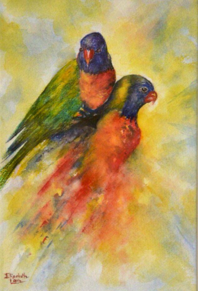 Rainbow Lorikeets, Watercolour by Elizabeth Little