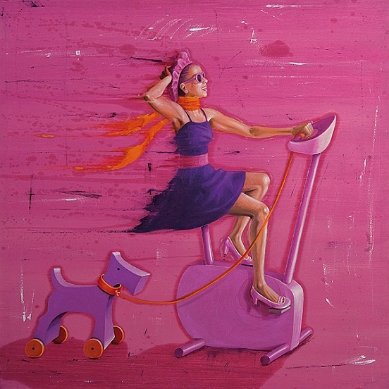 Vania Elettra Tam - i want to ride my bike  2010  100x100 cm - 39.4x39.4 in  mixed media on canvas