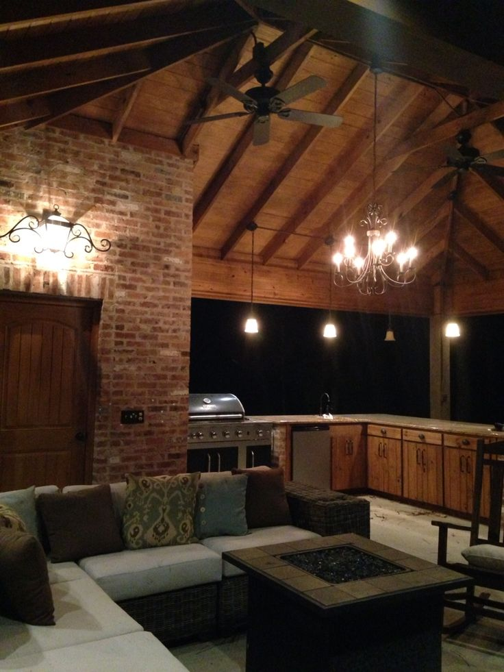 Rustic pool house with outdoor kitchen old carolina used for Rustic outdoor chandelier