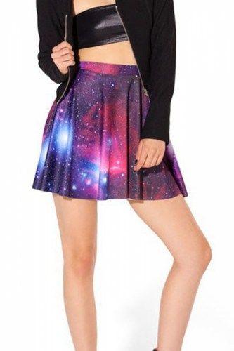 Stunning Galaxy Print Flared Mini Skirt | GlobalMarket - Clothing on ArtFire