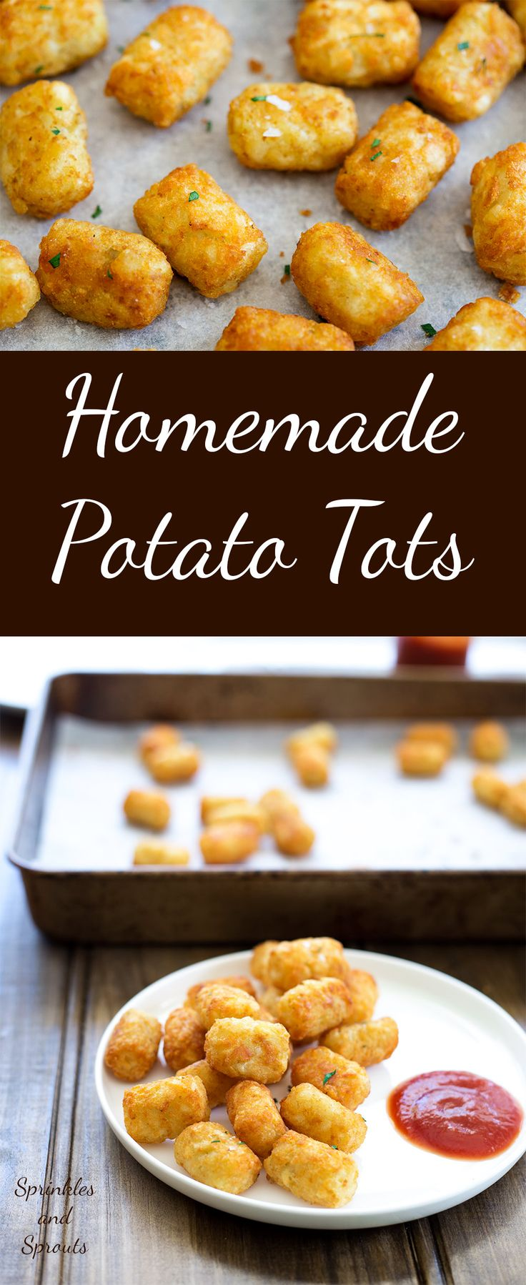 Homemade potato tots, shredded potato, cooked until crisp on the outside and fluffy inside. These homemade potato tots have just 4 ingredients (well 5 if you count salt) and are super simple to make. And keep reading for the best part of this whole recipe!!!