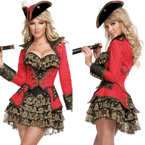 Sexy Womens Adult Red Pirate Treasure Sailor Halloween Costume Fancy Dress Set | eBay Elite Pirate