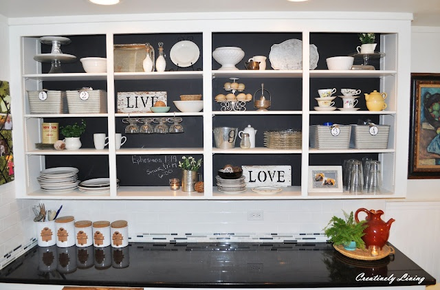 open kitchen cabinet organization: Kitchens Shelves, Chalkboards Paintings, Black Cabinets, Real Reveal, Creative Living, Kitchens Cupboards, Cabinets Organizations, Kitchens Makeovers, Kitchens Cabinets