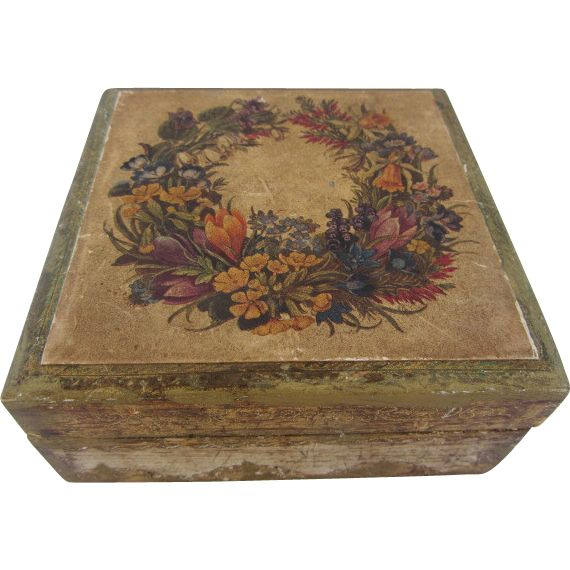 Square Florentine Decoupage Floral Wreath Box