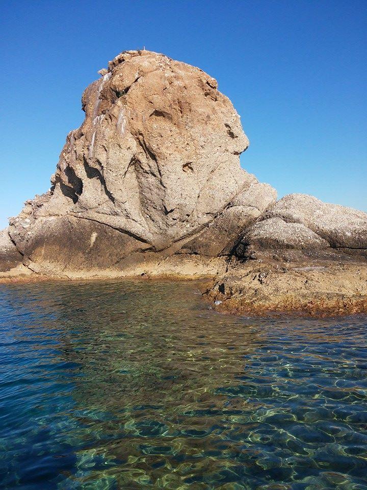Lo scoglio di Patti visto dal mare. Sicily