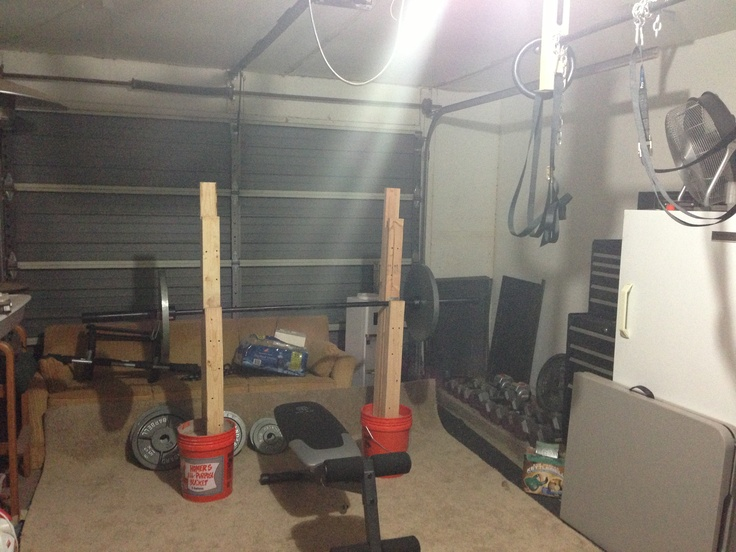 Garage gym with homemade bench squat rack
