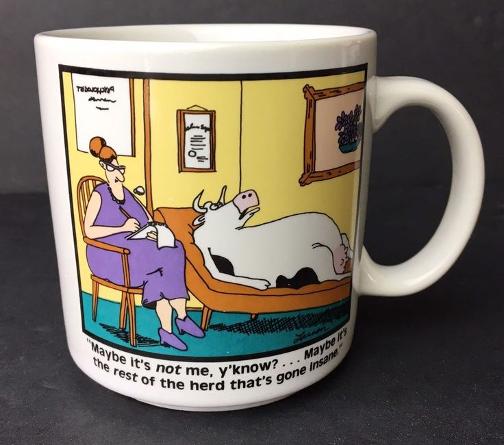 Vintage Coffee Mug The Far Side Gary Larson Cup Psychologist Cow Herd Insane  | eBay