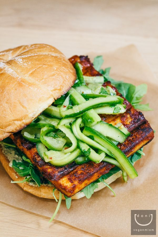 BBQ Tofu Burger with Pickled Cucumber Salad - OMGOSH this looks delicious!