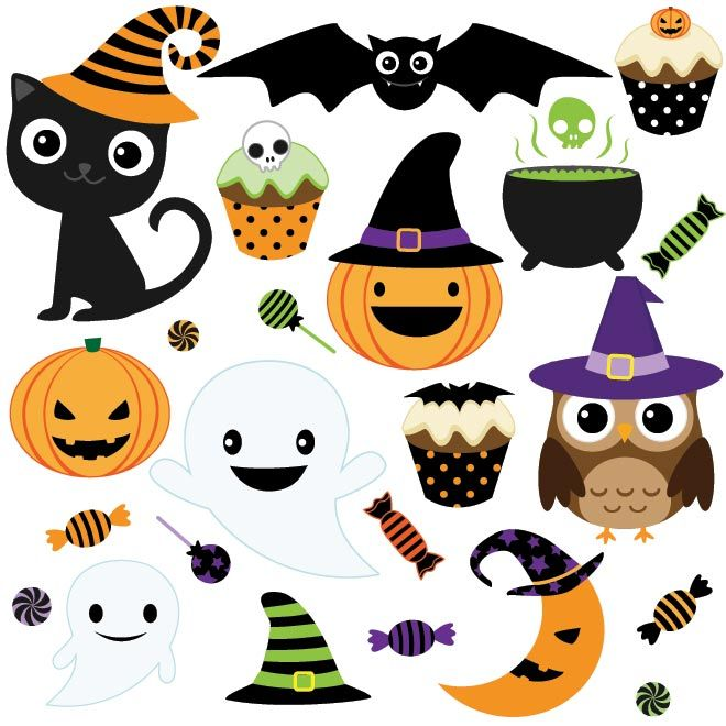 Free Vector Happy Halloween Icons Design Elements By Cgvector