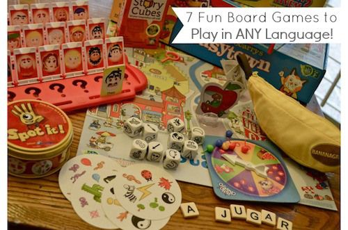 7 Board Games that Promote Language Learning- (any language!) Great for #bilingual #ESL or any kids wanting speaking practice. No reading/writing- just oral communication!