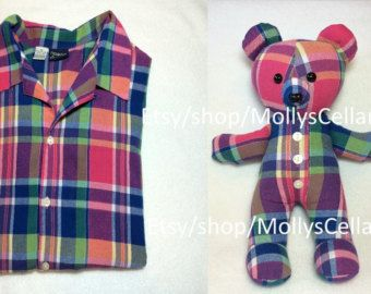 Keepsake Bear Memory Bear Stuffed Bear made from by CrazyLeggies