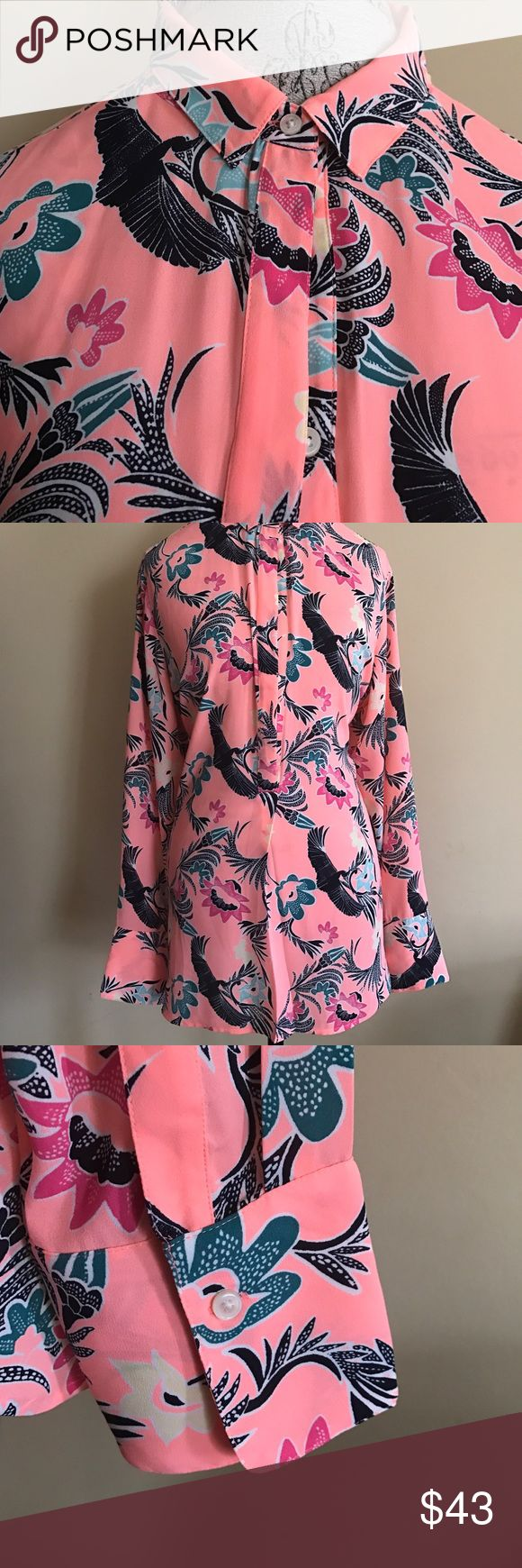 NWT Print Button Up Banana Republic Blouse From Banana Republic's Spring Collection. Perfect with slacks or skirt! Vibrant print and colors. Collar. Button Sleeve. Light and Flowy material. Banana Republic Tops Blouses