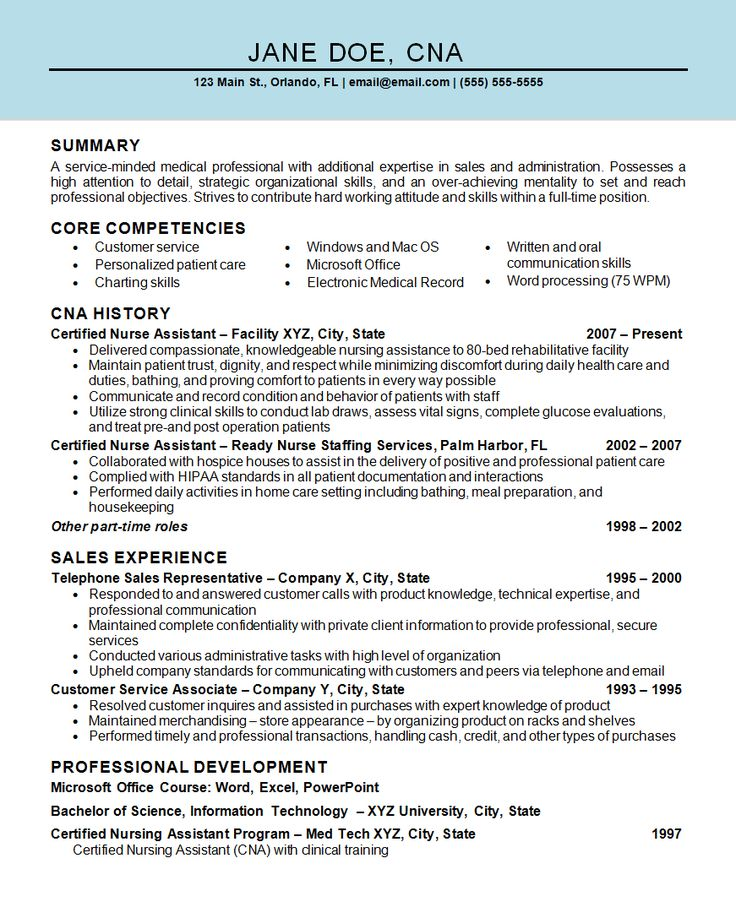 266 best Resume Examples images on Pinterest Resume examples - certified nursing assistant resume