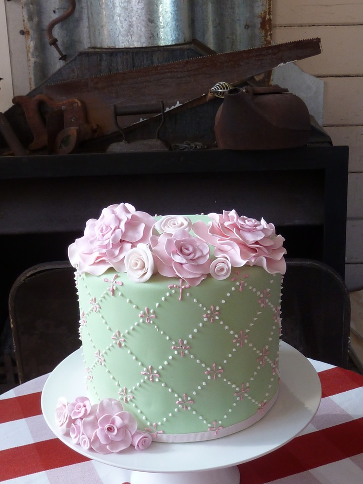 Double barrel mint green & pink cake for 80th birthday