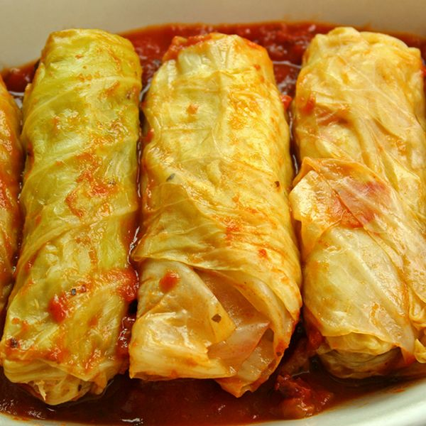 Ukranian cabbage rolls are delicious served with sour cream.