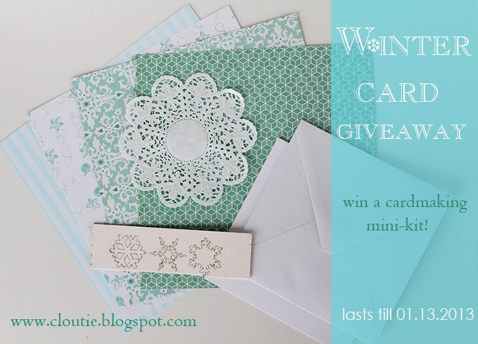 Winter card giveaway.Leave a domeny and win a cardmaking mini-kit!