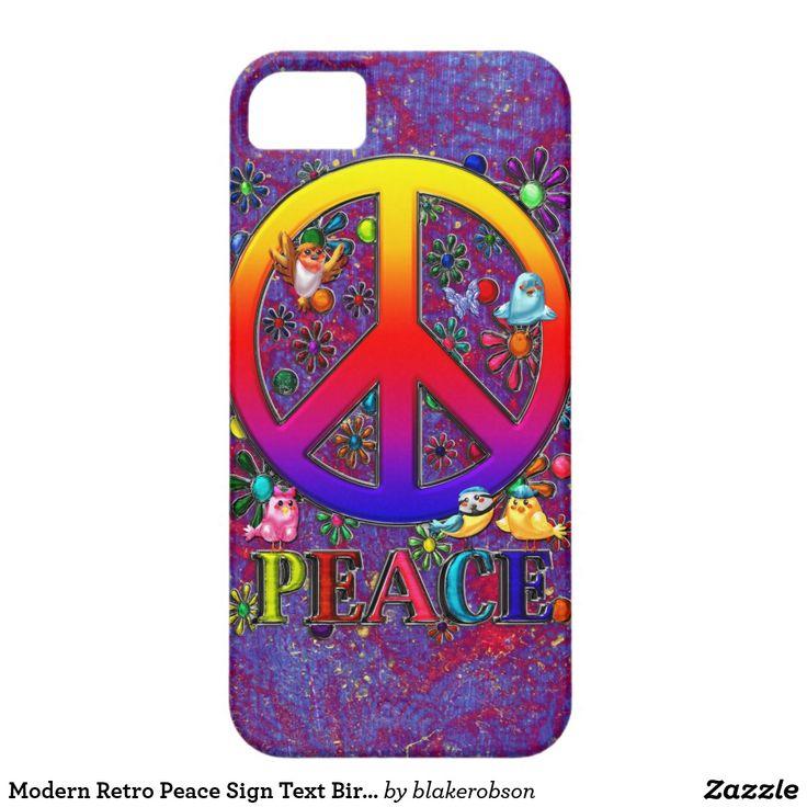 Modern Retro Peace Sign Text Birds & Flowers iPhone SE/5/5s Case