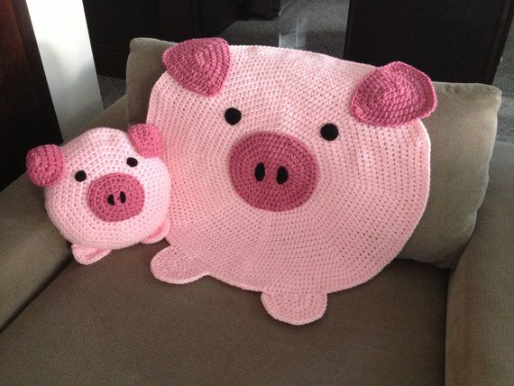 Inspiration for a small rug...found here for sale: Pig Pillow by peanutbutterdynamite  on Etsy.