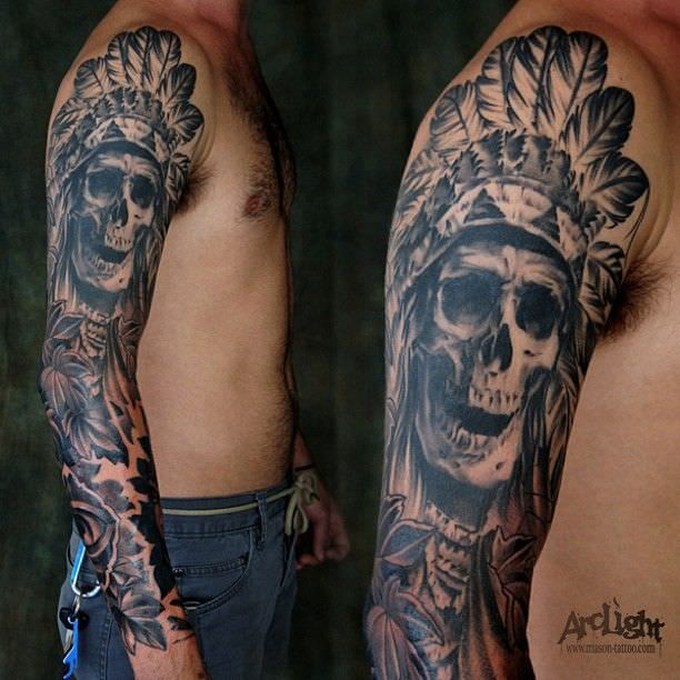Tribal Skull Sleeve Tattoos