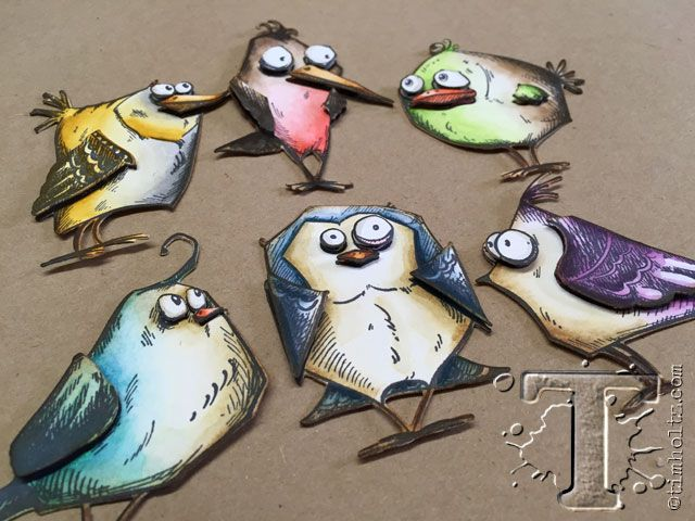 Tim Holtz bird crazy dies colored and layered from his blog; July 2015