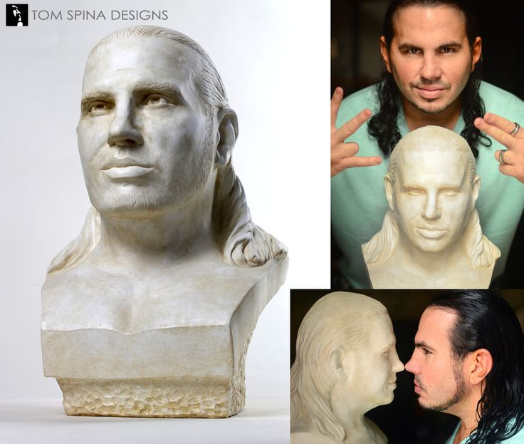 A classical aged plaster style bust, a birthday gift from the wife of the wrestling star, Matt Hardy by sculptor Steve Richter.