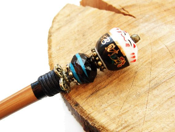 Short wooden japanese hair stick and maneki neko fortune lucky cat ceramic bead with blue n black lampwork - kanzashi, hairpin, ornament