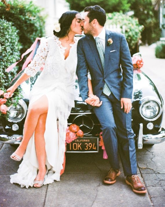 "Martha Brides Who Wore Carolina Herrera Wedding Dresses - Heather - ""I fell in love with the 'Spanish princess' feel of my dress,"" says Heather, who chose Carolina Herrera for her charming backyard wedding in California."