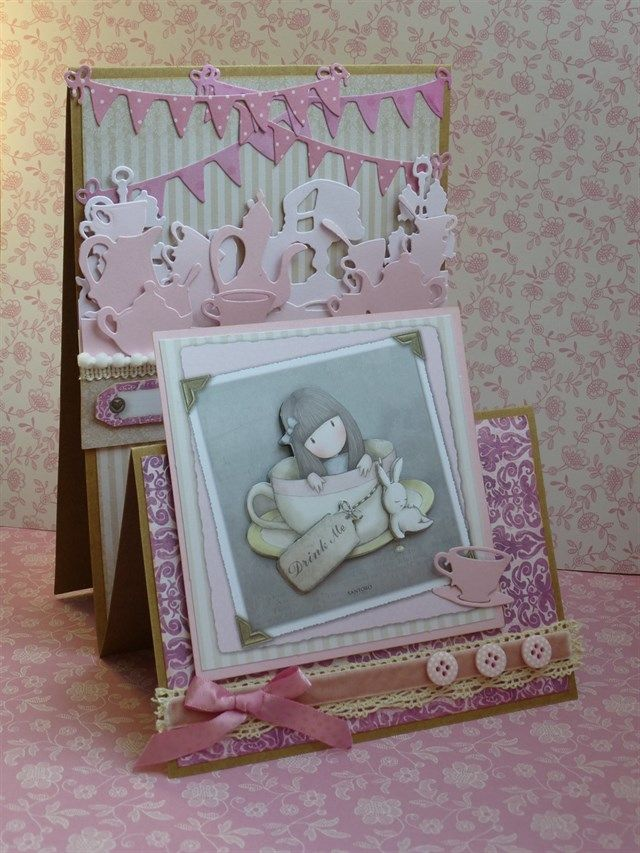 'Gorjuss Tea Party' Handmade stepper card using the Santoro's Gorjuss Ultimate Die-cut & Paper Pack and dies from the Xcut Build-a-scene Garden Party set.