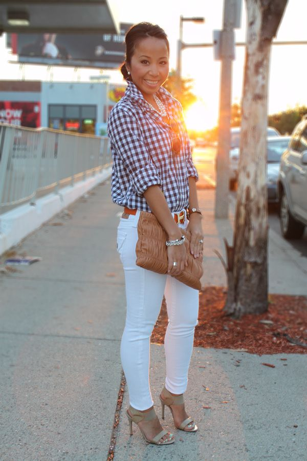 Very Cute Outfit White Jeans And Gingham Shirt