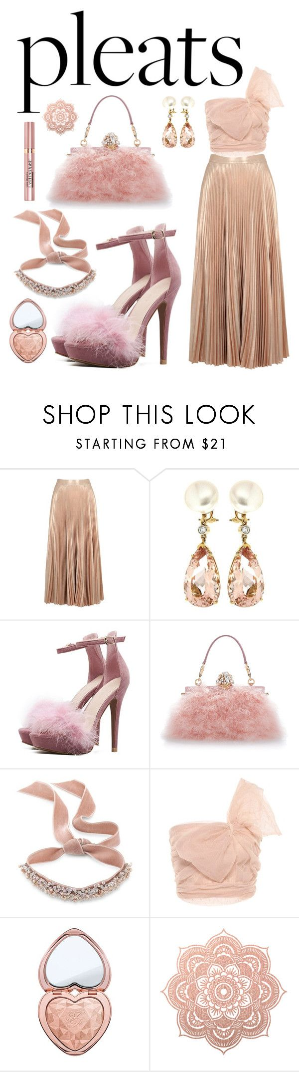 """Blush All Night"" by katebillingsley on Polyvore featuring A.L.C., Valentin Magro, Dolce&Gabbana, Fallon, RED Valentino, L'Oréal Paris, Too Faced Cosmetics, Pink, evening and pleats"