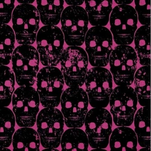A great design made up of imprinted black skulls on single colour background.  Suitable for quilting, clothing and apparel, and craft items as well as home decor accents.   Colours: Colours include black, pink    Design: Skulls are approx 5cm wide   Fabric type: 100%