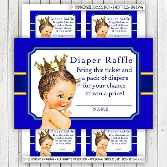 Prince Diaper Raffle Ticket Boys Prince Diaper Raffle Tickets