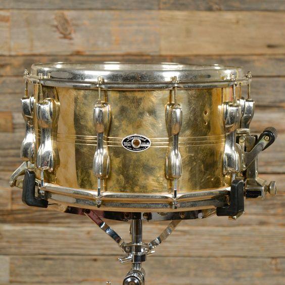 """Slingerland 14 x 8"""" vintage1980s Magnum Force Brass Snare Drum."""