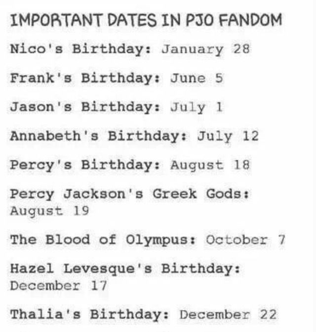 YES! All PJO fans must celebrate on these special days